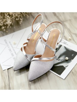 Women Fashion Glittery Pointed High Heeled Rear Strap Casual Shoes