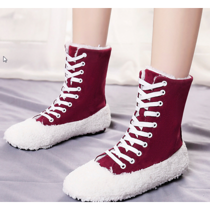 Women Korean Fashion Winter Snow Wild Style Fur Lace Up Boots