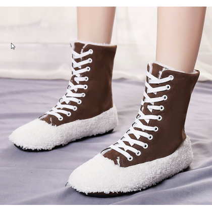 Women Korean Fashion Winter Snow Wild Style Fur Lace Up Boots