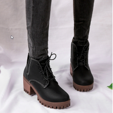 Women Korean Fashion Wild Style British  Thick High Heeled Velvet Boots