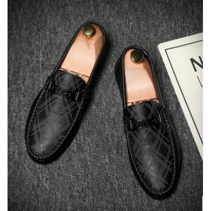 Men Korean Fashion Casual Trend Leather Peas Shoes