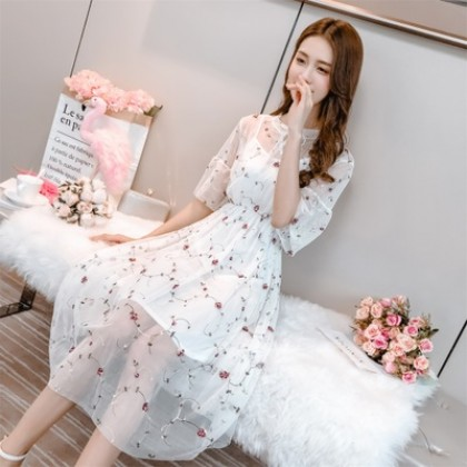Women Korean Fashion Sweet Small Flowers Mesh Pleated Skirt Fairy Dress