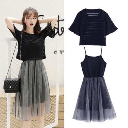 Women Korean Fashion 2 Piece  Bell Sleeve Top and Net Skirt Dress