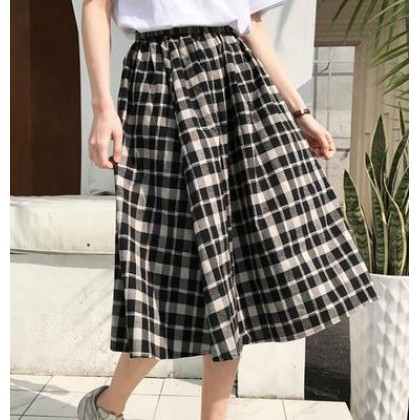 Women Korean Fashion Couples Plaid Long Sleeved and Fairy Style Skirt
