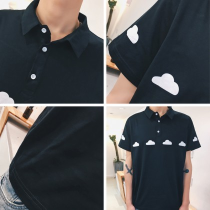 Women Korean Fashion Loose Summer Cloud Print Couples Shirt