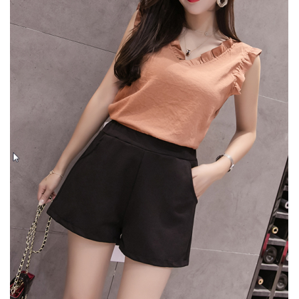 Women Korean Fashion New High Waist Wide Leg Loose Short