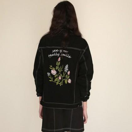 Women Korean Fashion Wild Embroidery Flowers Loose Long Sleeve  Jacket