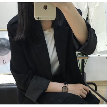 Women Korean Fashion Casual Loose Thin Professional Suit Jacket
