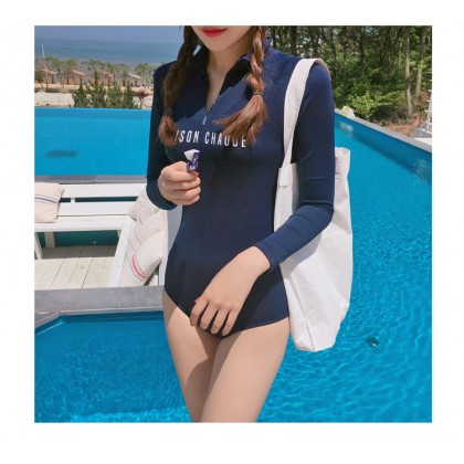 Women Korean Fashion  One Piece Long Sleeved Zipper  Swimwear