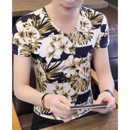 Men Fashion Youth Trend Short Sleeved Flower Design Slim Fit T Shirt