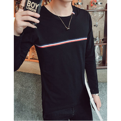 Men Fashion Youth Trend Long Sleeved Round Neck Slim Casual Shirt