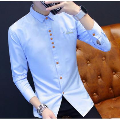 Men Korean Fashion  Long Sleeved Slim Solid Color Casual Shirt