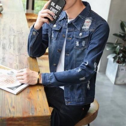 Men Fashion Long Sleeved Distressed  Denim Slim Loose Youth Jacket