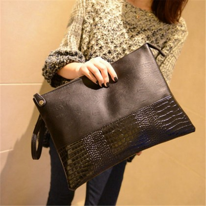Women Korean Fashion Large Capacity Crocodile Pattern Clutch Bag