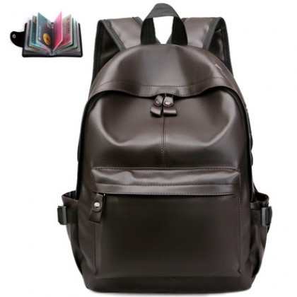 Men Fashion Simple Leather Trendy Casual Backpack