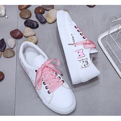 Women Korean Trend  Lace Up Cat Board Leather White Shoes