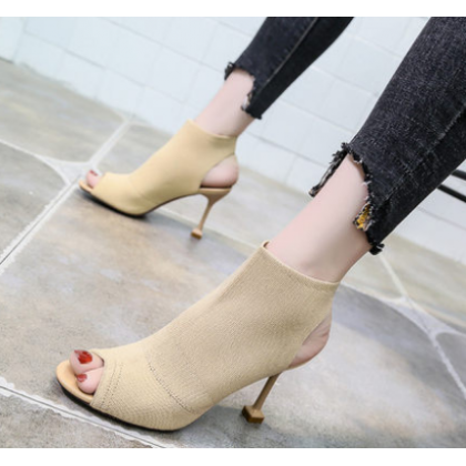 Women Korean Trend Fish Mouth Summer New Suede High Heeled Boots