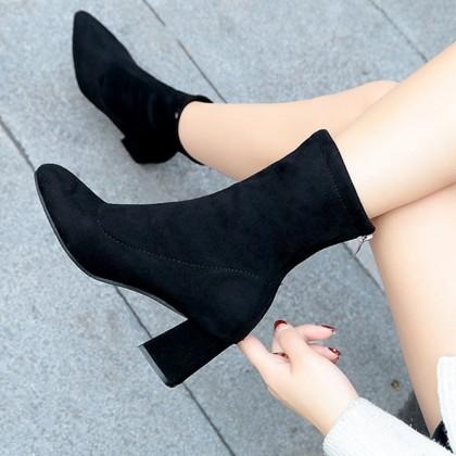 Women Korean Trend Winter Round Head Suede High Heeled Boots