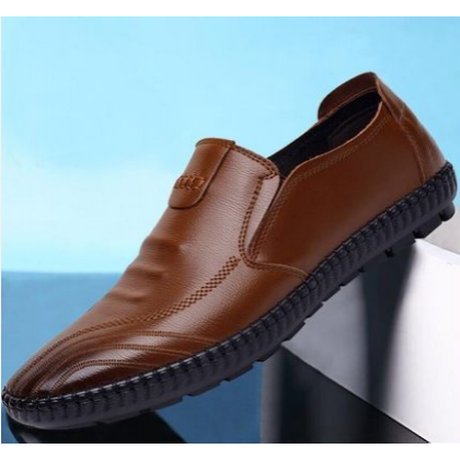 Men Trendy Casual Leather Business Lazy Peas Shoes