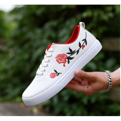 Men Korean Fashion Breathable Cloth Rose Print Wild Canvas Shoes