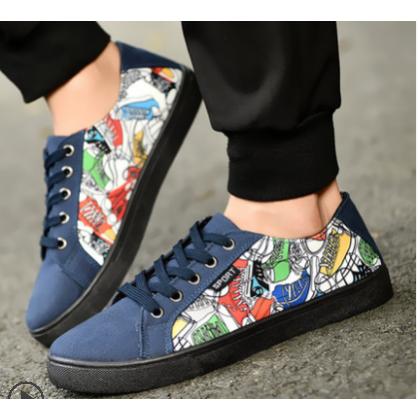Men Korean Fashion Breathable Cloth Wild Printed Low Top Sneakers