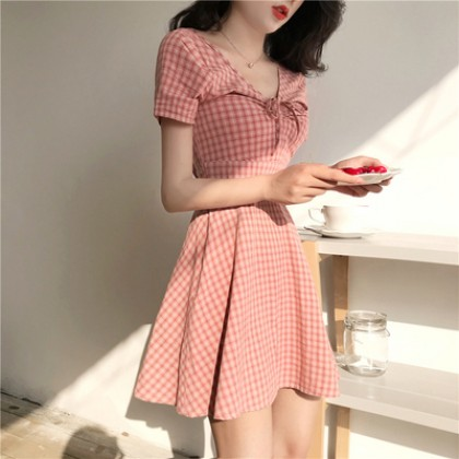Women Korean Fashion  V Neck Slim Plaid Short Sleeved Dress
