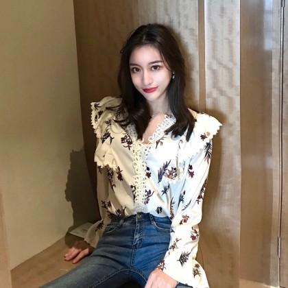 Women Korean Fashion Retro Chic V Neck Lace Long Sleeved Shirt