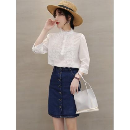 Women Korean Fashion Retro 7-Point Sleeve Stand Collar Lace Shirt