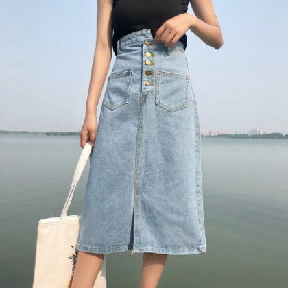 Women Korean Fashion Mid Length High Waist Denim A Skirt