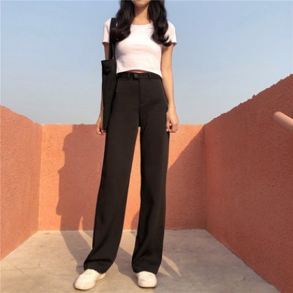 Women Korean Fashion Wide Leg High Waist Loose Straight Pants