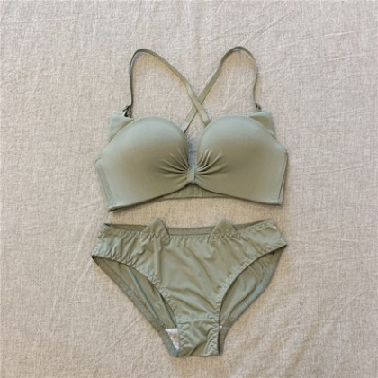 Women Korean Fashion  Solid Color Playful with Steel Support Underwear Set