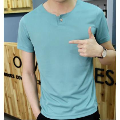 Men Fashion  Short Sleeved  Solid Color  Round Neck Slim Fit T Shirt