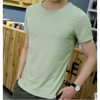 Men Fashion  Short Sleeved  Solid Color  Round Neck Slim Fit T Shirt