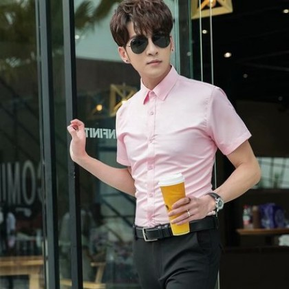 Men Fashion  Short Sleeved  Solid Color Casual and Formal Shirt