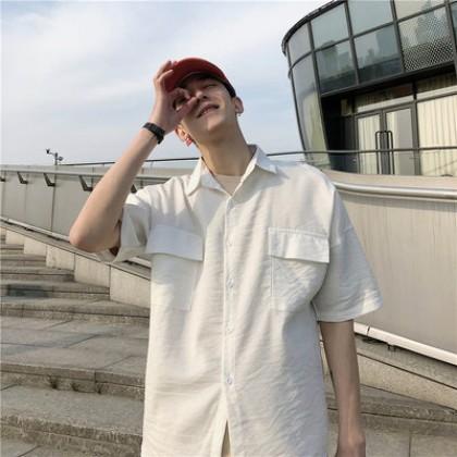 Men Fashion Street Style Loose Short Sleeved Multi Pocket Shirt