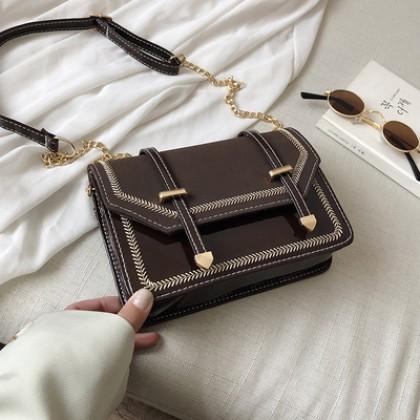 Women Korean Fashion  New Wave Chain Sling Small Square Retro Bag