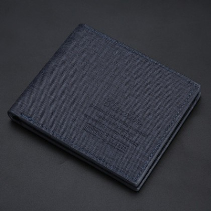 Men Fashion Short Denim Canvas Pattern Slim Wallet