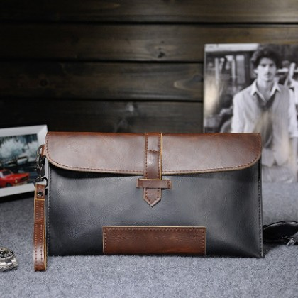 Men Fashion Retro Casual Horse Leather Clutch Bag
