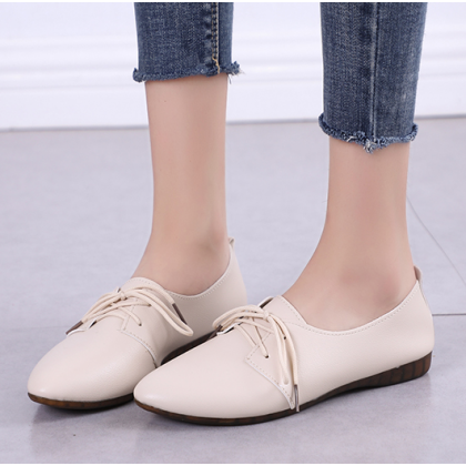 Women Korean Trend Comfortable Casual Flat Pointed Lace Up Shoes