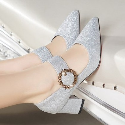 Women Korean Fashion Buckle Thick High Heeled Evening Shoes