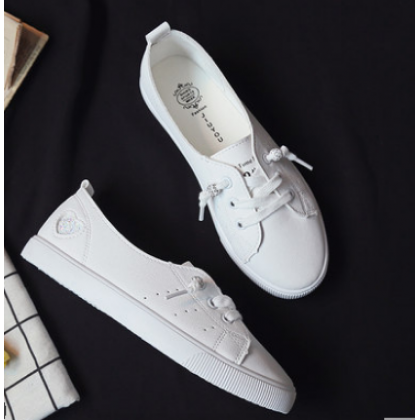 Women Korean Fashion Lazy Flat Lace Up White Casual Sneakers