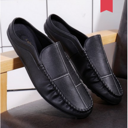 Men Fashion Summer Trend  Wild Leather Casual Half Peas Shoes