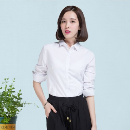 Women Slim Long Sleeve Professional V Neck Shirt