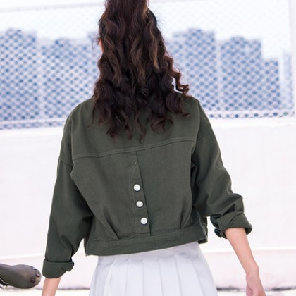 Women  Korean Fashion Loose Wild Pocket Button Denim Short Jacket