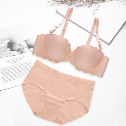 Women Fashion Seamless Non Wire Detachable Strap Underwear Set