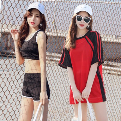 Women Korean Fashion 3 Piece Sporty Slim Boxer Style Swimwear
