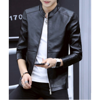 Men Korean Fashion Youth Trend Leather Motorcycle Jacket
