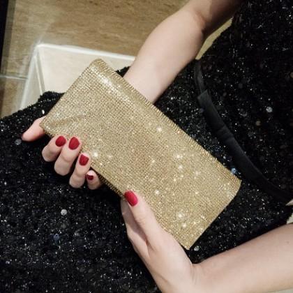 Women Korean Fashion Diamond Small Diagonal Clutch Party Bag