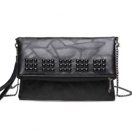 Women Korean Fashion Soft Leather Rivet Clutch Large Capacity Hand Bag