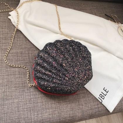 Women Korean Fashion Wild Style Shell Design Glittery Chain Sling Bag